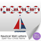 Nautical Wall Letter Decal Boat Boys Childs Nursery Baby Room Name Wall Sticker