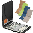 Luxury Mens Silver Money Clip Leather Purse Bifold Wallet ID Credit Card Holder