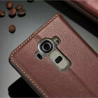For LG G4 Luxury Men's Flip Genuine Real Leather Wallet Card Stand Cover Case