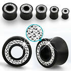"""Pair Areng Wood Double Flare Ear Plugs CZ Crystal Flesh Tunnels Gauges 2g-5/8"""""""
