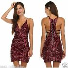 SEXY CELEB RED SEQUIN PRINT PLUNGE OPEN BACK BODYCON FITTED MINI DRESS S M L