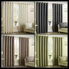 Marley Lined Eyelet Curtains Textured Plain Dashes Ready Made Pair Ring Top