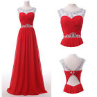 Red Bridesmaid Prom LONG Formal Evening Party WEDDING Masquerade Ball Gown Dress
