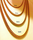 "18"" 30""Men's Stainless Steel 4-5-6-7mm 24K Gold Plated Cuban Link Chain Necklace"