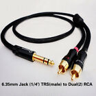 Y81 6.35mm Jack (1/4') 1/4inch TRS(male) to Dual(2) RCA/Phono(m) 4N-OFC 2ft-17ft