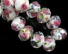 12mm Rondelle Glass Crystal Rose Flower Inside Lampwork Loose Bead Free Shipping