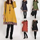 Sizes 8-24 Boho Hippie Womens Long Sleeve Tops Shirt Tunic Loose Dress Kaftans