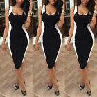 Ladies Womens Dress Midi Party Evening Bodycon Pencil Black Celeb UK 10 12 14