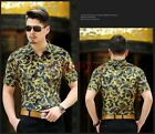 New Mens Luxury Floral Slim Fit Casual Shirts Stylish Short Sleeve Dress Tee XL