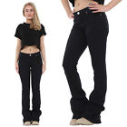 New Womens Ladies 60s 70s Style Black Flared Bootcut Bellbottom Stretch Jeans