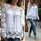 Fashion Women Embroidered Lace Crochet Long Sleeve Chiffon Top Tee Shirt Blouse