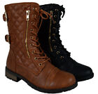Women's Forever Combat Boot Sneaker Lace Up Ankle Booties Buckle Shoe Fashion