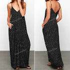 Women Sexy Summer Boho Long Maxi Party Beach Chiffon Polka Dot Harness Dress NEW