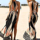 Sexy Women Summer Boho Long Maxi Evening Party Beach Dress Geometric Striped