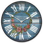 Barnwood Blue Floral LARGE WALL CLOCK 10- 48 Quiet Non-Ticking WOOD HANDMADE