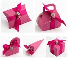 PACK 10 Luxury DIY Wedding Christening Hen Party  Favour Gift Boxes Fuchsia Silk