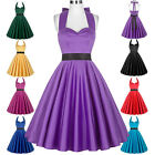 Women's Vintage Formal Cocktail Evening Party Halter Housewife Flare Swing Dress