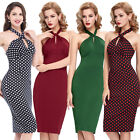 Sexy Retro Polka Dot Halter Evening Housewife Party Pinup Prom Pencil Dress