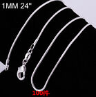 XMAS 10pcs Wholesale Solid Silver 1mm Snake Chain Necklace 16-24 inch