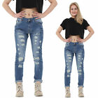 New Womens Blue Faded Slim Ripped Distressed Frayed Boyfriend Jeans Short Leg