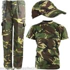 BOYS ARMY OUTFIT KIDS TROUSERS T-SHIRT CAP DPM CAMO FANCY DRESS COSTUME MILITARY