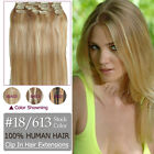 Hair Extension Full Head Clip In 100% Hair Extension 16''-30'' Color#18/613