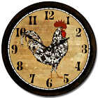 Black & White Rooster LARGE WALL CLOCK 10- 48 Quiet Non-Ticking WOOD HANDMADE