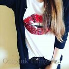 STRADIVARIUS (ZARA GROUP)  NEW S/S 2016. T SHIRT TOP SEQUINED MOUTH LIPS.