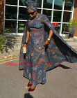 Celebrity Inspired African Ankara Print Maxi Cape Dress Size 16UK/44EU/12USA
