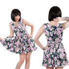 Hearts & Roses Navy Pink Floral Mini Dress Rockabilly Vintage Pinup Prom