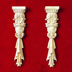 One Pair of Unpainted Wood Carved Onlay Acanthus Leaf Corbel Home Decorator