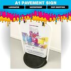 Large Swinging Pavement Sign, Black or White Frame Options, Waterproof.