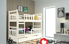 New Bunk Beds with Free Mattresses Storage Drawer Wooden White Pine Kids W8