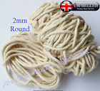 2mm Pure 100% Natural Cotton Rope 3 Strand Braided Twisted Cord Twine Sash