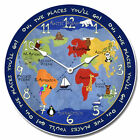 """Large wall Kids World Map Clock, 10""""- 48"""" Whisper Quiet, Non-Ticking"""