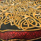Fair Trade Celtic red gold matching single / double bedspread throw wallhanging
