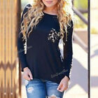 Sexy Womens Lady Casual Long Sleeve Tops Leopard Print Tee Shirt Chiffon Blouse