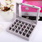 24 Slots Jewelry Earring Velvet Mirror Storage Organizer Ring Necklace Box Case