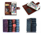 New 2in1 Detachable Magnetic Retro Canvas Leather Wallet Case Cover For iPhone