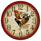 "Hens Rule LARGE WALL CLOCK 10""- 48"" Whisper Quiet Non-Ticking WOOD HANDMADE"