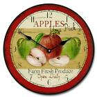 """Large wall Vintage Apple Clock 10""""- 48"""" Whisper Quiet, Non-Ticking"""