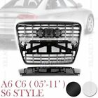 S6 STYLE FRONT MESH HOOD GRILLE for AUDI A6 C6 2005-2011 2 VERSIONS