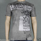 Affliction HELLBOUND A10207 Mens T-shirt Tee White Oil Stain