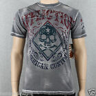Affliction Bourbon A7705 Men's T-shirt Tee Silver Brush Bleach Wash