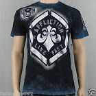 Affliction Sprayer A7704 Men's Reversible T-shirt Tee  Black/Cobalt Blue