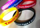 Diabetes Type 1 Medical Insulin Alert Silicone Wrist Band Bracelet UK SELLER