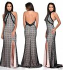 BLACK NUDE TURTLE NECK BACKLESS SLIT FISHTAIL MAXI PROM EVENING PARTY DRESS 8-16