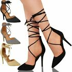 New Womens Ladies High Heel Barely There Strappy Lace Tie Up Sandals Shoes Size
