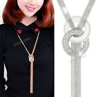 Women Tassel  Pendant Gold Necklace Chain Choker Statement Bib Chunky Jewelry