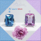Large Solitaire Ring Simulated Blue Topaz or Amethyst CZ .925 Sterling Silver